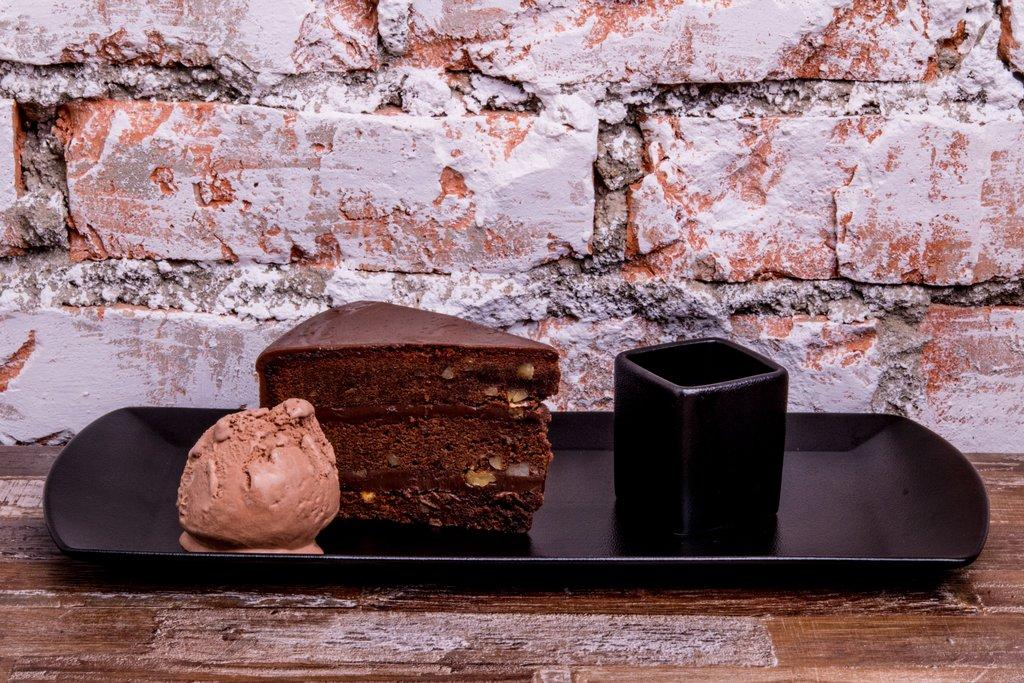 Chocolate Brownie, Chocolate Ice Cream & Chocolate Sauce